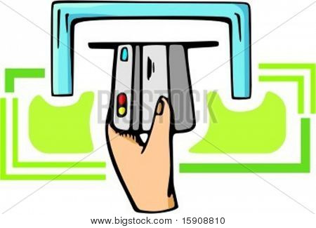 A hand inserts a debit credit card into ATM machine.Vector illustration