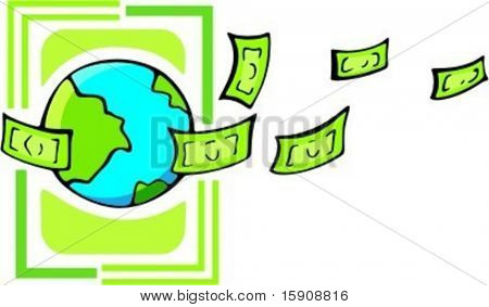 The terrestrial globe with money.Vector illustration