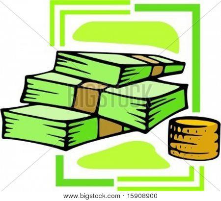 Wad of money.Vector illustration