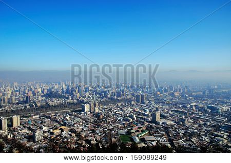 Panoramic view of Santiago de Chile from Cerro San Cristobal with the Andes in the background in Chile South America