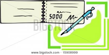 Pay check\cheque and pen.Vector illustration