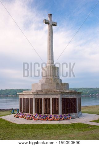 HALIFAX CANADA - JUNE 26 2016: The Sailor's Memorial honouring those lost at sea from the Canadian Navy Merchant Navy and Army.