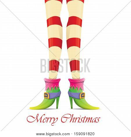 vector creative merry christmas greeting card with cartoon elf girls legs and greeting calligraphic text Merry christmas isolated on white. Vector merry christmas background with elf girl