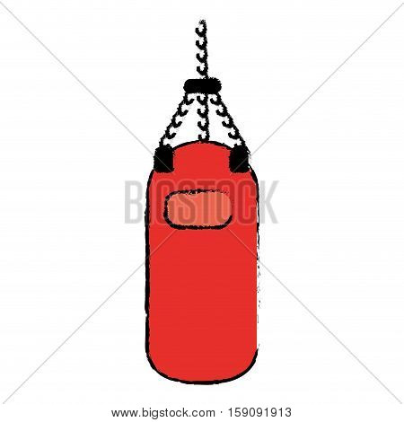 drawing red punching bag training gym icon vector illustration eps 10