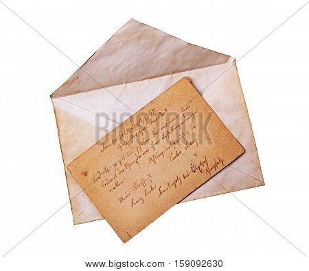Vintage Envelope And Postcard With Handwriting Text