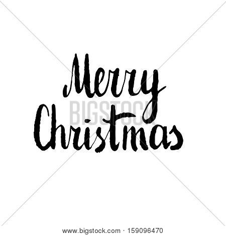 Merry Christmas. Hand drawn design element, black clip-art isolated on white. Useful for Christmas and New Year greeting card, poster, flyer