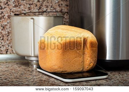 Baking bread in bread maker. Home baked bread