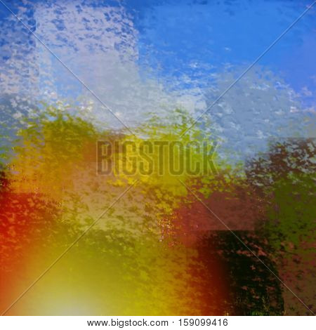 blurred abstract background of colored spots orange blue