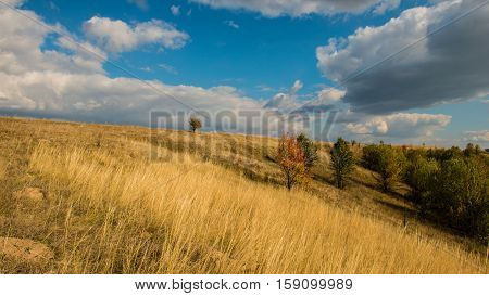 autumn landscape in the hills panorama sunny