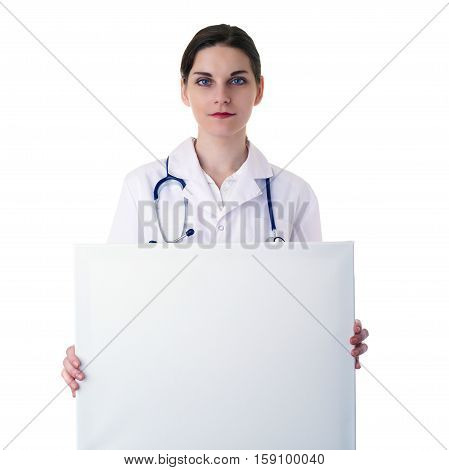 Smiling female doctor in white coat over white isolated background with stethoscope and white blank board, healthcare, profession and medicine concept