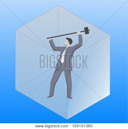 Breaking the glass cube business concept. Confident businessman in business suit with sledgehammer is going to break the glass cube around him. Searching for opportunities looking for solution.