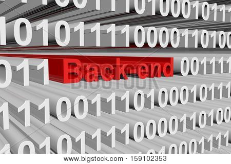 back-end in the form of binary code, 3D illustration