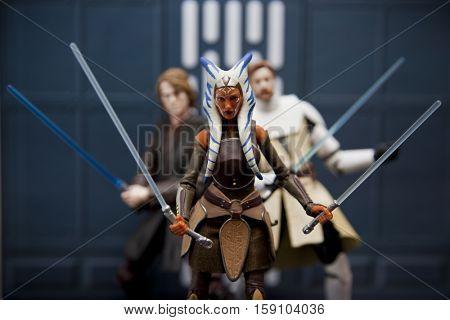 Star Wars Hasbro Black Series 6 inch action figures -  Jedi Ahsoka Tano, Anakin Skywalker and Obi Wan Kenobi recreate a scene from the Clone Wars - shallow focus