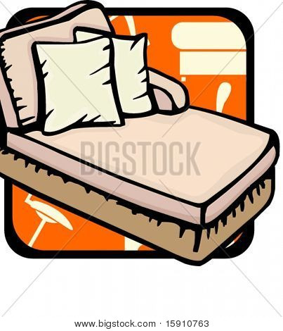 Sofa-bed with pillows.Pantone colors.Vector illustration
