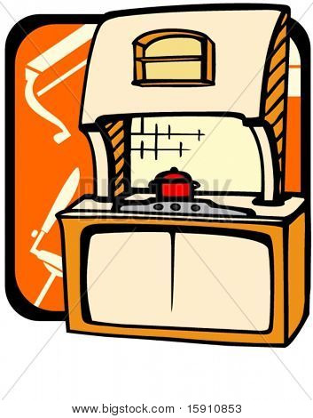 Kitchen cupboard with hot plate.Pantone colors.Vector illustration