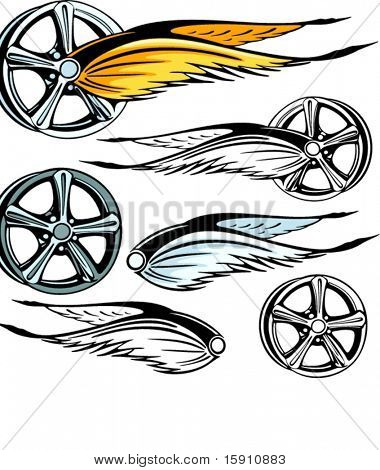Vector illustration of a rim with fiery wings.  The vectors are VERY CLEAN and ready for vinyl cutting, great also for screen printing and any other design work.