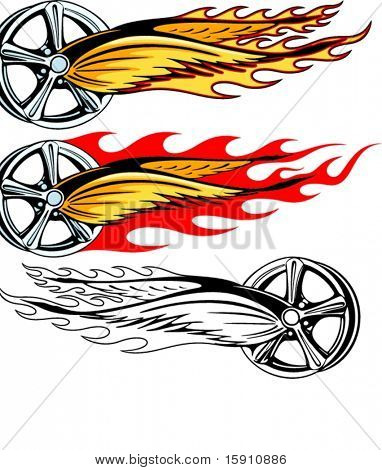 Vector illustration of a rim with fiery wings and burning fire.  The vectors are VERY CLEAN and ready for vinyl cutting, great also for screen printing and any other design work.