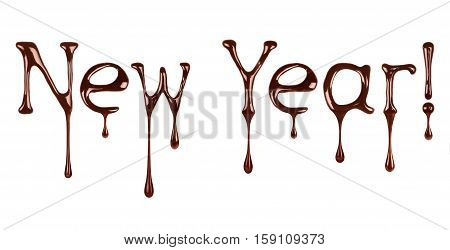 New Year written by liquid chocolate on white background