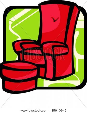 Armchair and stool.Pantone colors.Vector illustration