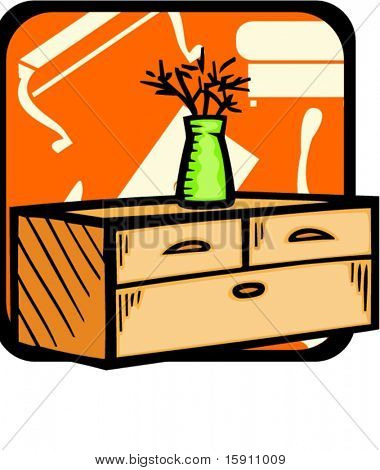 Bureau with flowerpot.Pantone colors.Vector illustration
