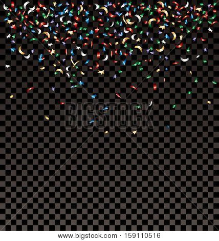 vector falling confetti on transparent background, layered and editable