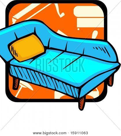 Sofa.Pantone colors.Vector illustration
