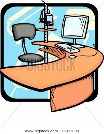 Computer chair and desk.Pantone colors.Vector illustration