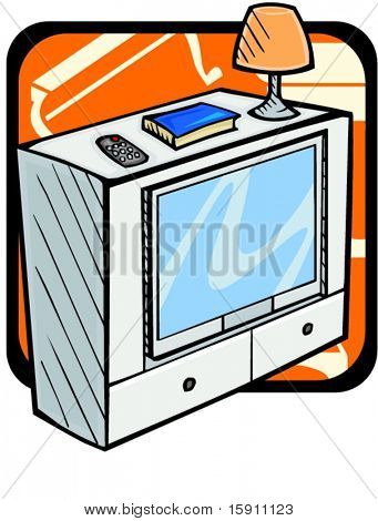 TV stand with book, lamp and remote control.Pantone colors.Vector illustration