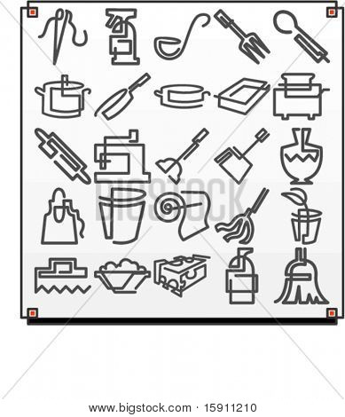 A set of 25 vector icons of kitchen objects, where each icon is drawn with a single meandering line.