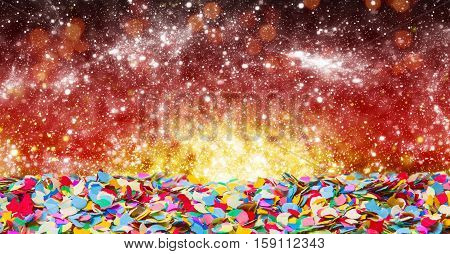 a Colorful Confetti before red golden Bokeh