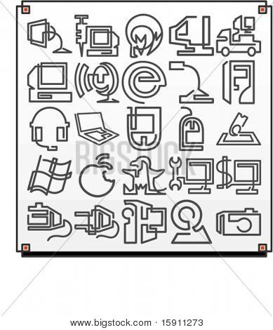 A set of 25 vector icons of computer technology objects, where each icon is drawn with a single meandering line.