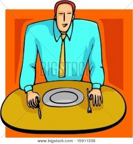 A vector illustration of a businessman in a restaurant.