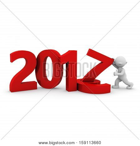 3d new year numbers decoration with a human