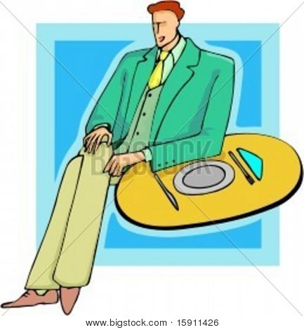 A vector illustration of a businessman, in a restaurant.