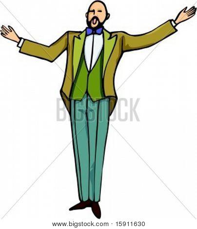 A vector illustration of opera singer.