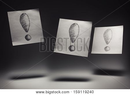 Three Exclamation Marks On Papers