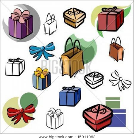 A set of vector icons of gifts in color, and black and white renderings.
