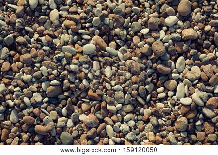 marine pebbles on the shore of the Baltic Sea, to grind with water in various sizes and colors, the oval and round,  nature, background, tinted, preset, brown