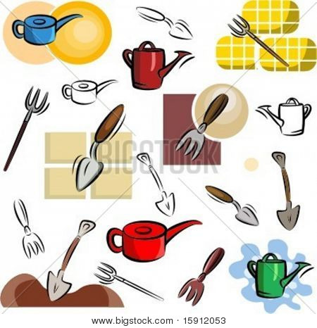 A set of gardening tool vector icons in color, and black and white renderings.