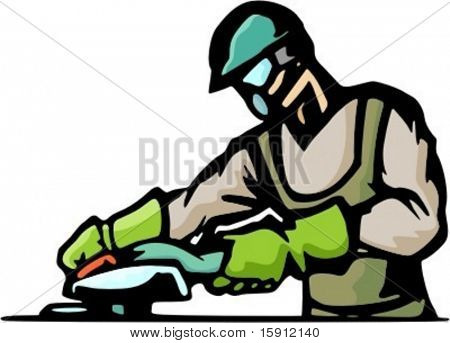 A ready-to-cut vector illustration of a worker.