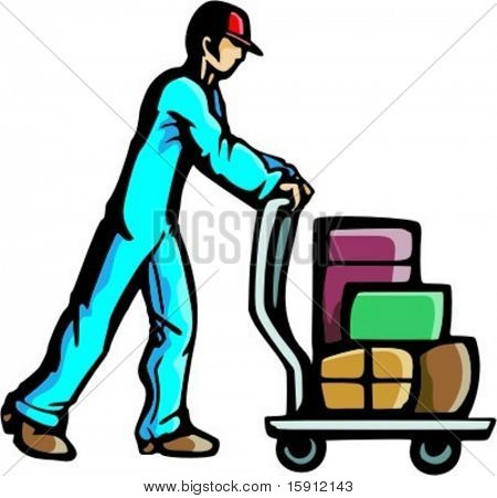A ready-to-cut vector illustration of a man pushing a cart with luggage. Might be a doorman at a hotel or an airport assistant, helping somebody with the luggage.