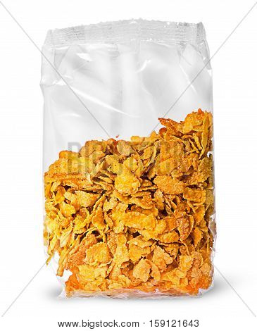 Sealed package of cornflakes vertically isolated on white background