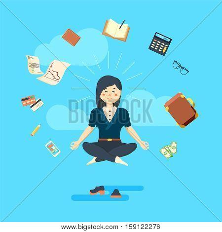 Businesswoman in meditating position on green background. Vector illustration meditating. Girl in peace. Feeling good concept. Meditation