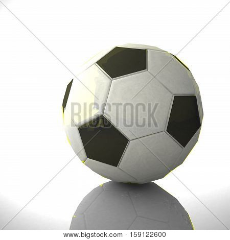 Soccer Ball Over Reflecting Background
