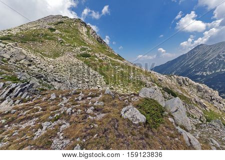 Amazing Panorama from Banderitsa pass to Muratov peak,  Pirin Mountain, Bulgaria