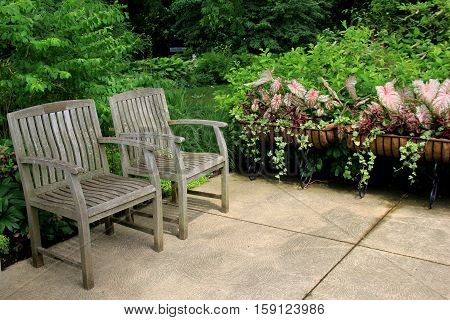 Two weathered wood benches set on courtyard tiles, in corner of  beautifully secluded garden.