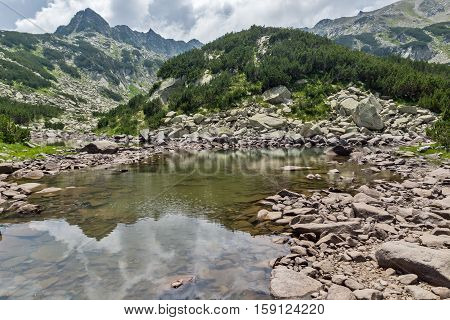 Amazing view of Rocky peaks and Upper  Muratovo lake, Pirin Mountain, Bulgaria