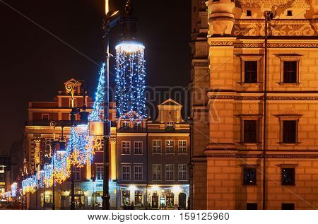 Christmas decorations in Old Market in Poznan