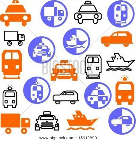 A set of 21 transportation icons.
