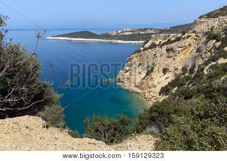 Amazing small beach with blue waters in Thassos island, East Macedonia and Thrace, Greece